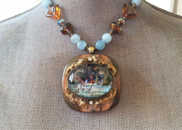 THE STORY - Reverse painted Intaglio Statement Necklace