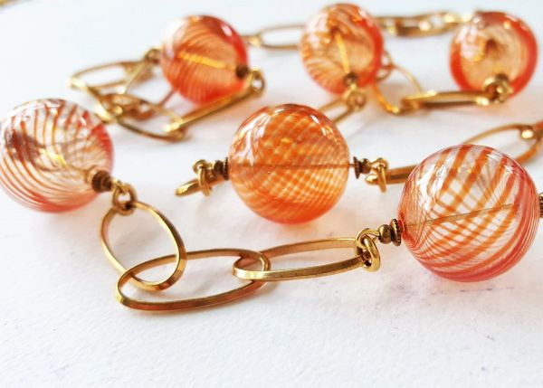 GEENA - Orange Bubble Glass Necklace