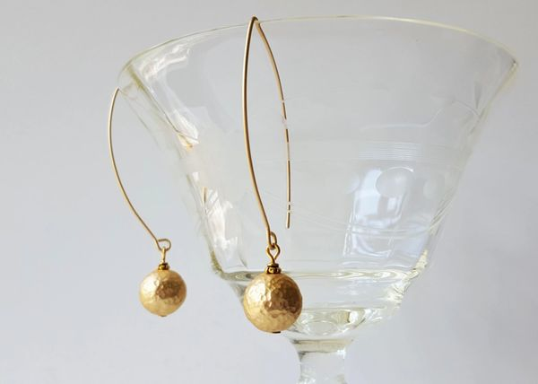 LYA - Hammered Gold Ball Earrings