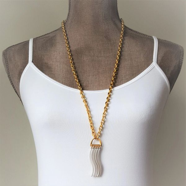 WAVE - Two Tone, Curvy Bar Tassel Necklace