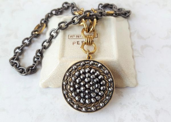 CARISSA - Two Tone, Antique Button Pendant Necklace