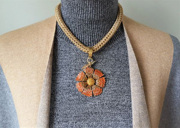 NYA - Orange Fall Flower Necklace