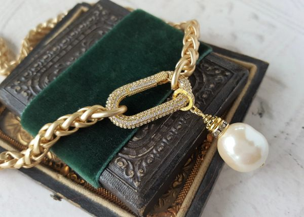 SUTTON - Baroque Pearl and Pave Carabiner Necklace