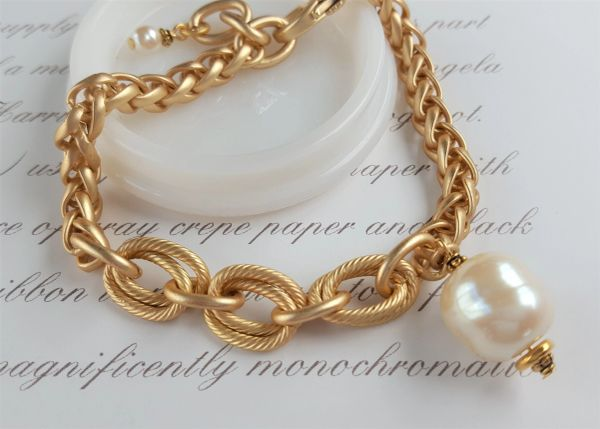 EDE - The Mixed Link and Baroque Pearl Bracelet