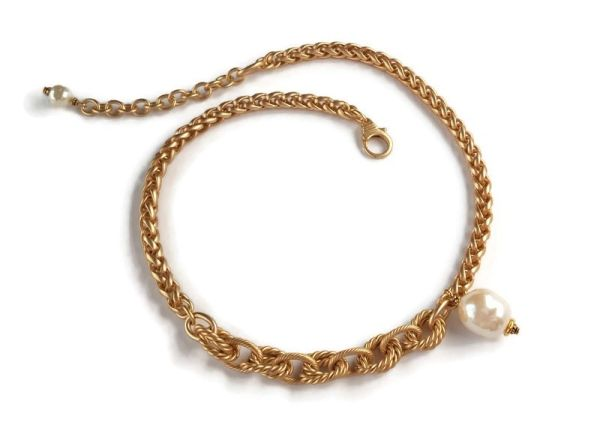 The EDE - Gold, Mixed Link and Baroque Pearl Choker
