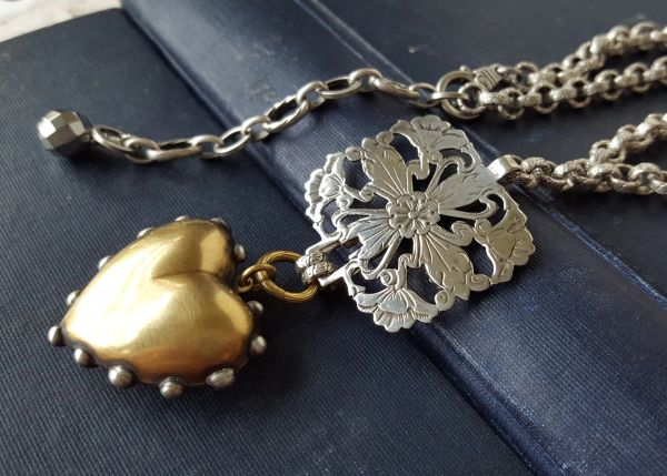 BIG LOVE - Victorian Assemblage Heart Necklace