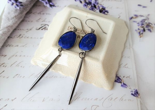 LARA Earring - Lapiz Lazuli Bar Earrings