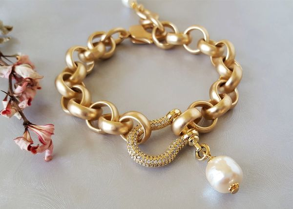 DARLENE - Baroque Pearl and Pave Lock Bracelet