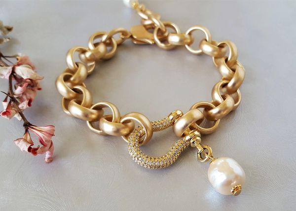 DARLENE - Baroque Pearl and Pave Lock Bracelet