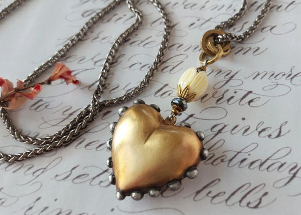 With My Whole Heart - Long, Artisan Heart Necklace