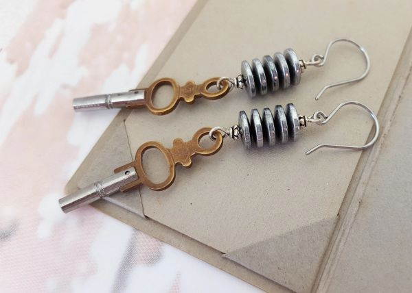 Pocket Watch KEY Earrings