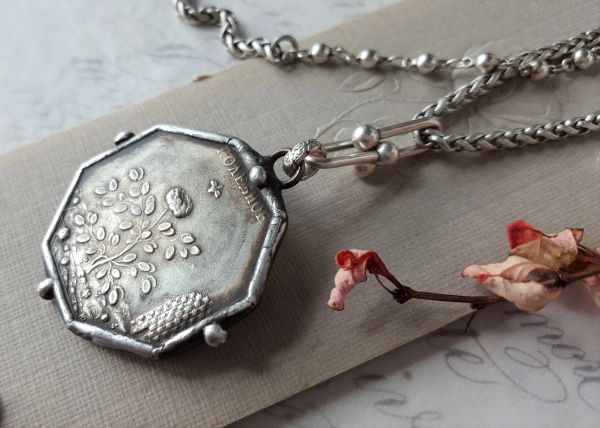 Octagonal, Rustic Coin Necklace