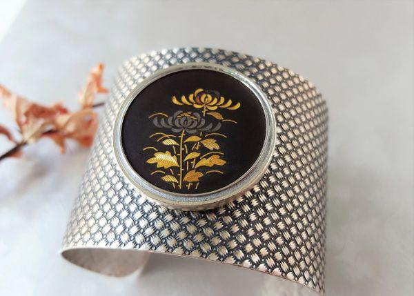 Vintage Japanese Damascene Floral Cuff