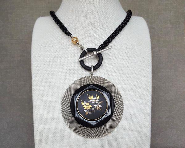 Vintage Japanese Floral Damascene Statement Necklace