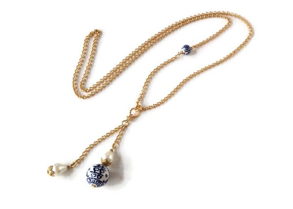 DEBBIE- Chinoiserie Porcelain and Vintage Baroque Pearl Necklace