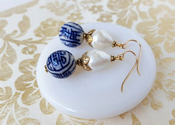 The CONNIE- Chinoiserie Porcelain and Baroque Pearl Earring