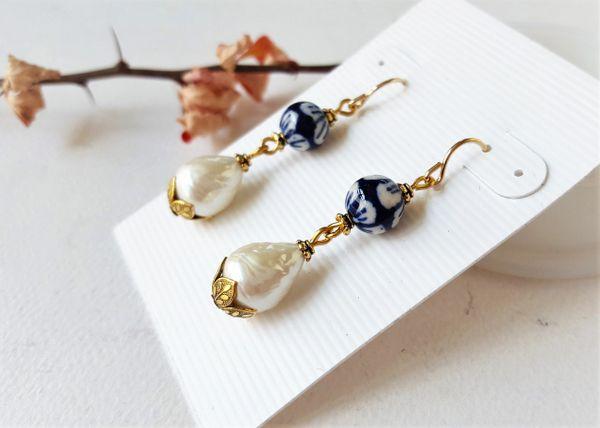 DORIS- Chinoiserie and Baroque Pearl Earrings