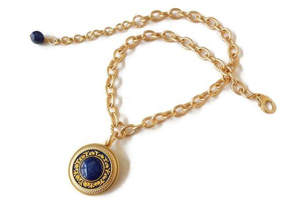 ADRIENNE- Lapis Pendant Necklace