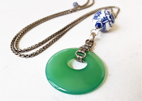 JADA- Jade Glass and Chinoiserie Pendant Necklace