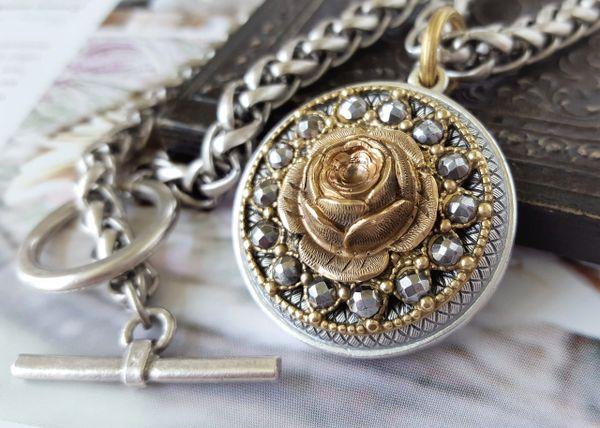 ELINORE ROSE- Antique Button Necklace