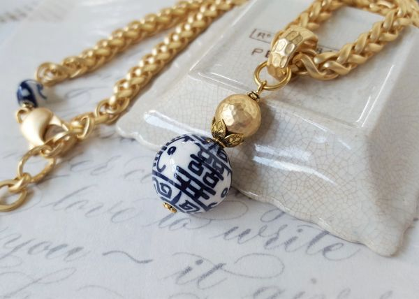 CLAUDIA - Blue and White Chinoiserie Necklace