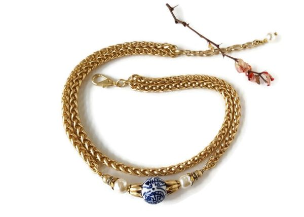 MAURA- Double Strand, matte satin gold Chinoiserie Necklace