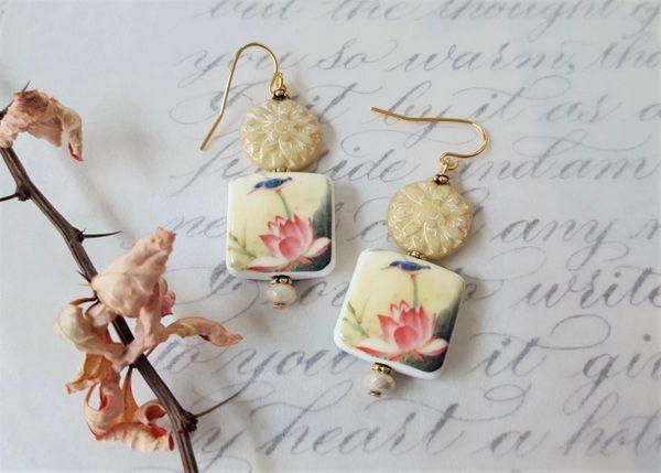 EMMELINE - Waterlily Porcelain Earrings