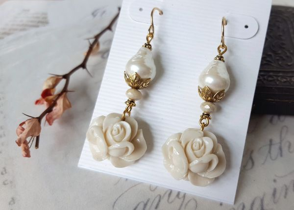 The EMELIA Earring- Carved Rose and Baroque Pearl Earrings