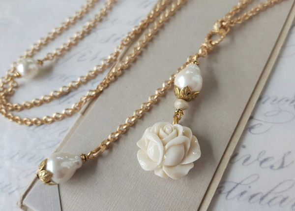 EMELIA - Carved Rose and Baroque Pearl Necklace