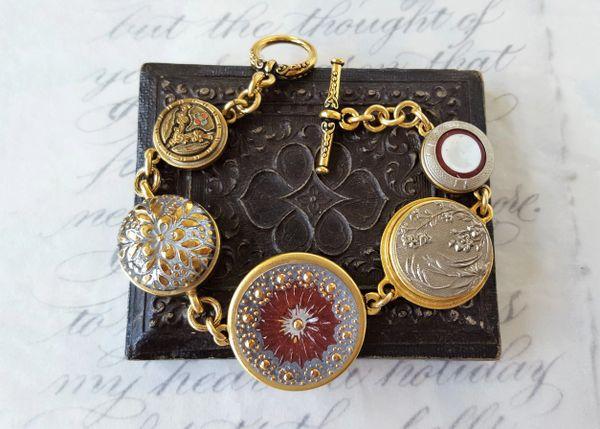 DANETTE - Antique Button Charm Bracelet