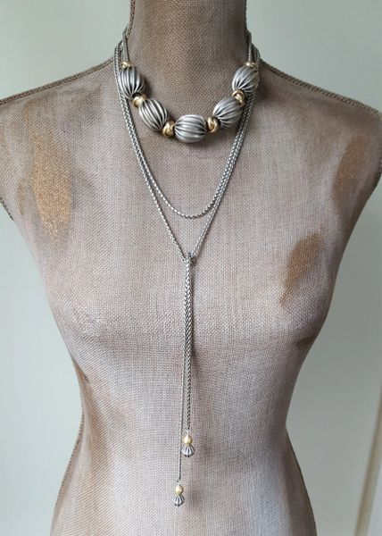 ADELLE - 2 pc. Chunky Beaded Necklace and Lariat Set