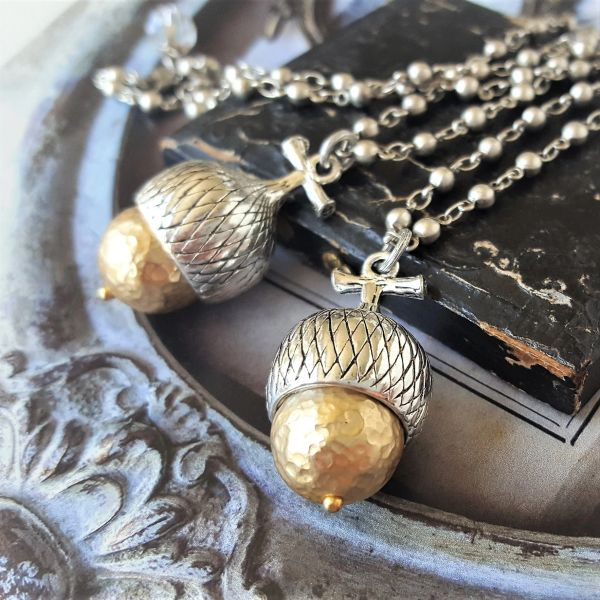 The Silver and Gold ACORN Necklace