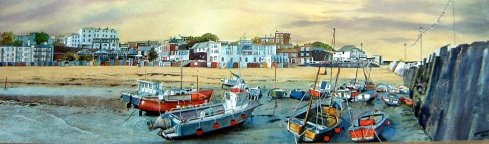 "This is a painting of Viking Bay in Broadstairs. Gouache on board size 30""x11"""