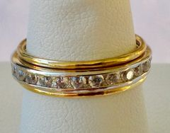 Cubic Zirconia Eternity Band with Gold Filled Skinny Bands