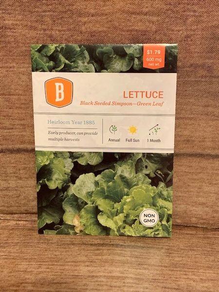 LETTUCE - Black Seeded Simpson - Green Leaf