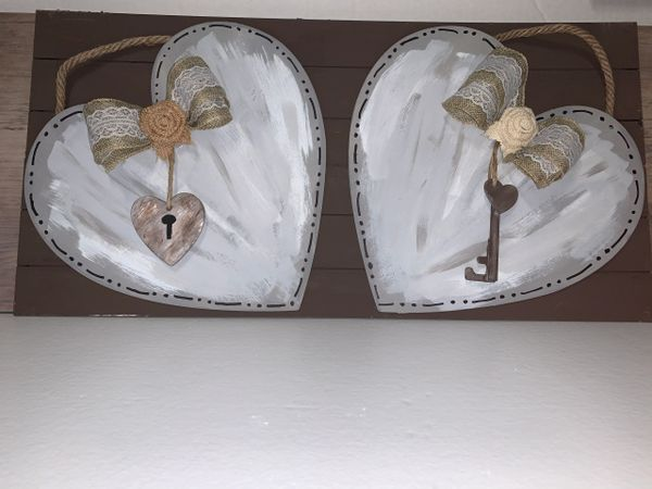 2 Heart Lock & Key Hanging Picture