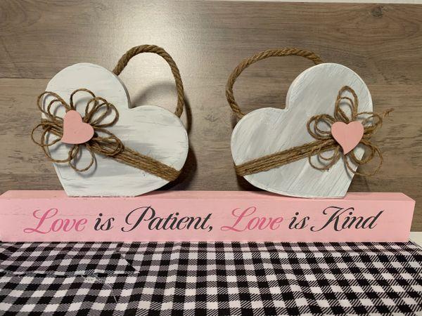 """2 Heart """"love is patient...love is kind"""" shelf sitter"""
