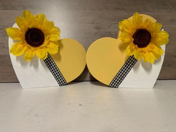 2 Heart Sunflower shelf sitters