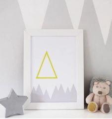 Yellow and Grey Geometric Mountain Print