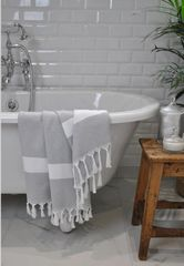 Izmir Silver & White Diamond Towel