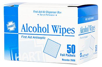 ALCOHOL WIPES, HART, 50/BOX