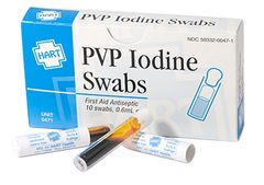 PVP IODINE SWABS, HART, 10/UNIT