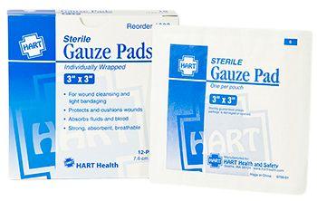 "GAUZE PADS, HART, STERILE, 3""X3"", 10/BOX"