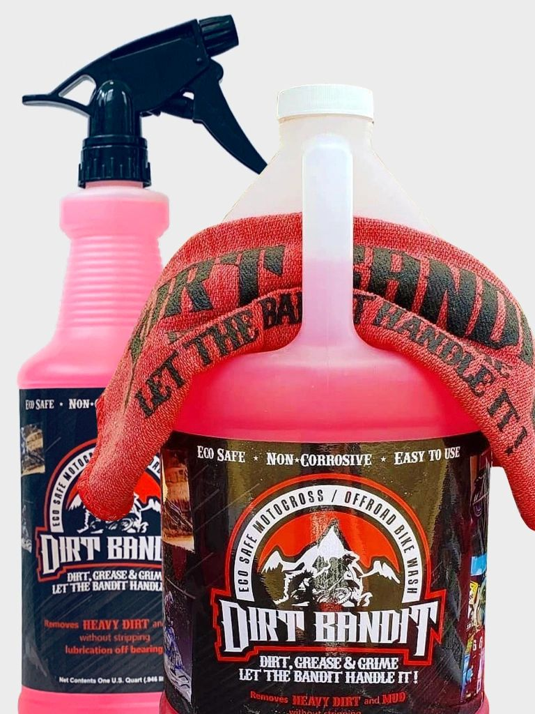 Bandit bundle of bike wash quart sprayer, gallon concentrate and screen printed shop rag.