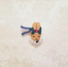 Christmas rabbit lapel pin