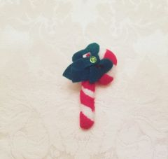 Christmas candy cane lapel pin