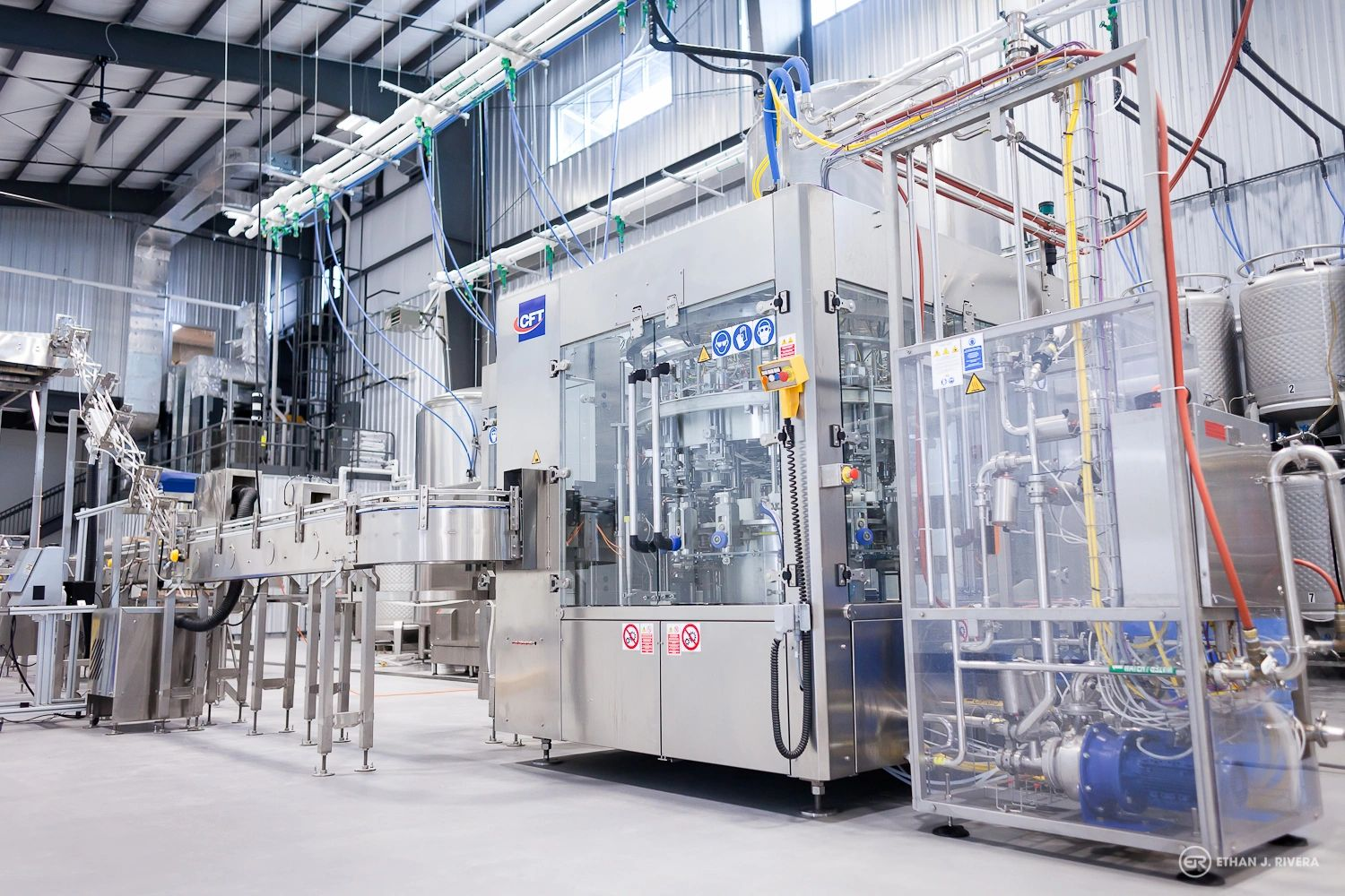 Image of DESTIHL Brewery's CFT canning line and production brewery in Normal, Illinois.