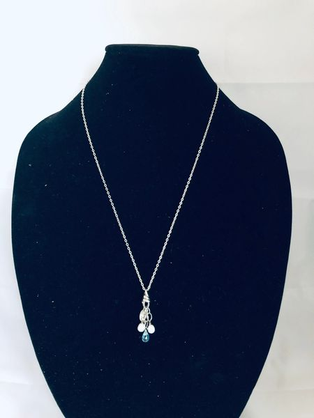 STERLING SILVER PEARL & BLUE