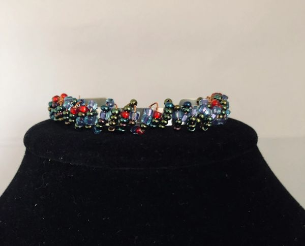 Seed Bead Wire Metal Bracelet