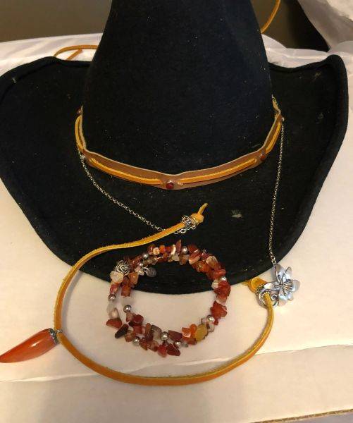 Leatherworks Hat Trim, Bracelet and Necklace